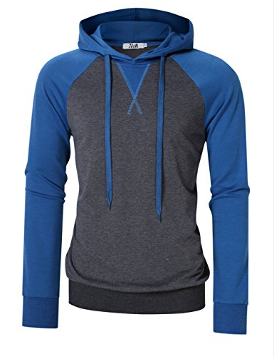 MrWonder Men's Casual Slim Fit Long Sleeve Lightweight Raglan Pullover Hoodie Sweatshirts Blue M