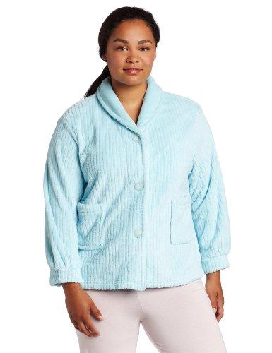 - Casual Moments Women's Plus Size Shawl Collar Bed Jacket, Aqua, 1XL