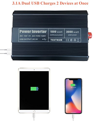 Tektrum 1500W Power Inverter 12V DC to 110V AC, 3 AC Outlets, 2 USB Ports, Intelligent Cooling Fan, Battery Cables Best for Computer, Laptop, Fan, TV, mini-Fridge, Window A/C, Smart Phone by Tektrum (Image #5)