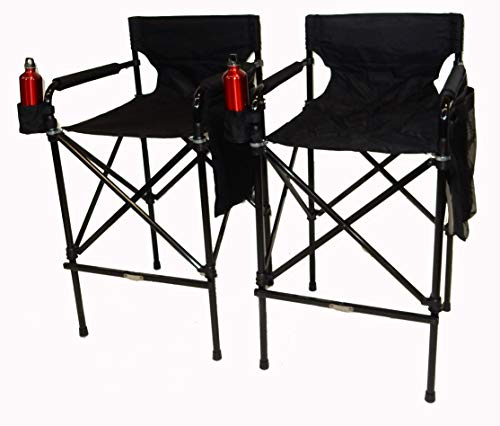 (World Outdoor Products Two Pack Award Winning Black Beauty Telescopic Tall Folding Directors Chairs with Matching Carry)