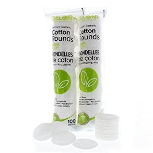 Delon Premium Facial Cleansing Cotton Rounds | Dermatologist Tested and Approved | 2x100 Count Stacks