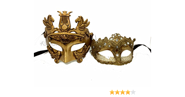 HIS HERS PAIR COUPLES WHITE AND SILVER VENETIAN MASQUERADE PARTY PROM EYE MASKS