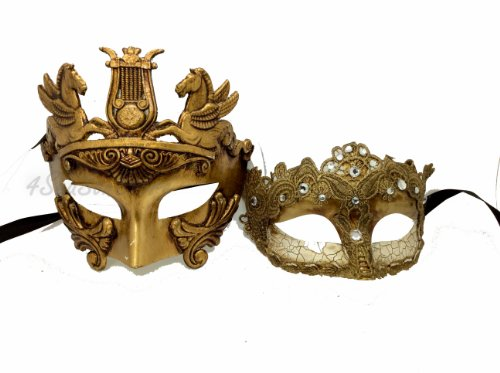 Roman Couples Costumes - His & Hers Masquerade Couples Venetian Design Masks - 2 Piece Gold Colored Set - Warrior Greek Roman Couple Mardi Gras Ivory Party Halloween Ball Prom by Unknown