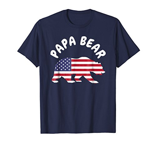 Mens Papa Bear T Shirt BIRTHDAY USA American Flag 4TH of July XL Navy