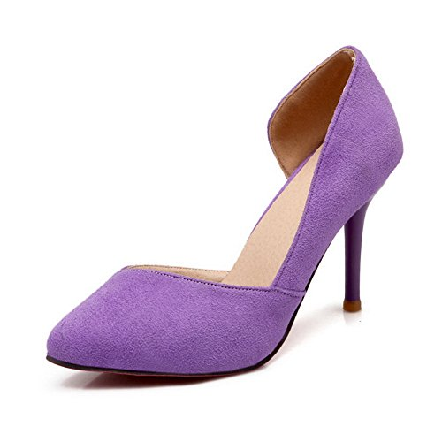 BalaMasa Womens Pointed-Toe Spikes Stilettos Pull-On Fabric Pumps-Shoes Purple r1t1Kfx