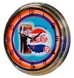 "Neon 17"" Tin Wall Clock Pepsi-Cola Red"