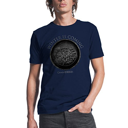 Game of thrones got winter is coming circle mens navy t Where can i buy game of thrones t shirts