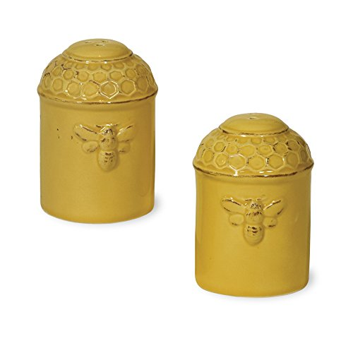Boston International JC16117 Embossed Ceramic Salt and Pepper Shakers, 2-Piece Set, Honeycomb