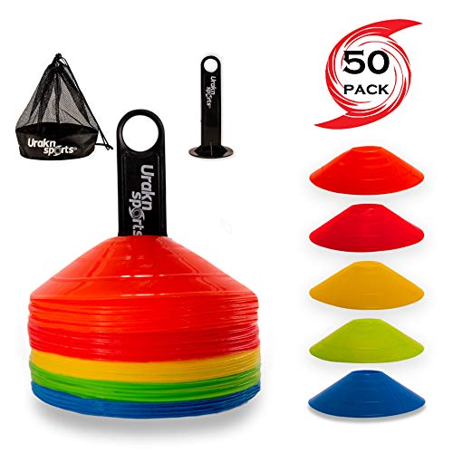 URAKN SPORTS Soccer Disc Cones 50 Units Set with Carry Bag Holder, Football Agility Drill Speed Training Equipment, Perfect for Practice (Disc Cones, 50 Unit Set) ()
