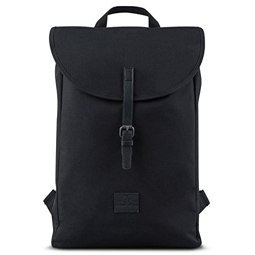 Backpack Men & Women Black - JOHNNY URBAN Liam from Recycled PET Bottles - Durable Daypack - 13 Litre Unisex Rucksack Day-to-Day Bag - Water-Repellant with Laptop Pocket