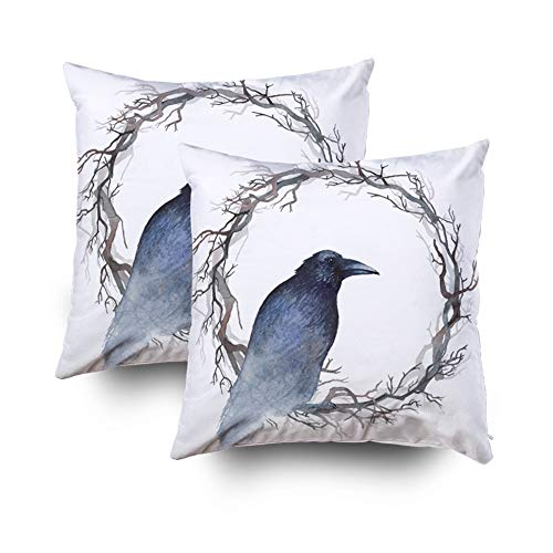 Asdecmoly Pillow Covers Decorative Pillowcase Pack of 2 Watercolor Painting Black Raven Sitting Inside Wreath Bare Branches Cover for Kids Throw Cushion Square 18X18 Inchs Home Sofa Bed Travel -