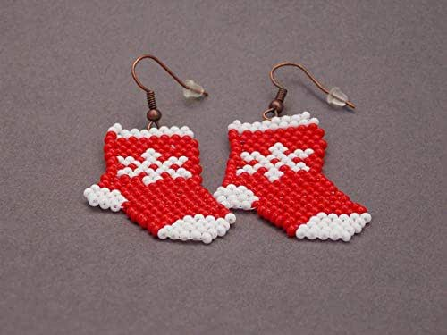 HANDMADE Christmas gift for her jewelry Snowflake earrings Christmas Stocking staffers women xmas shoes