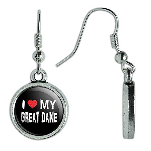 Novelty Dangling Drop Charm Earrings I Love My Dog E-K - Great (Great Dane Dog Earrings)