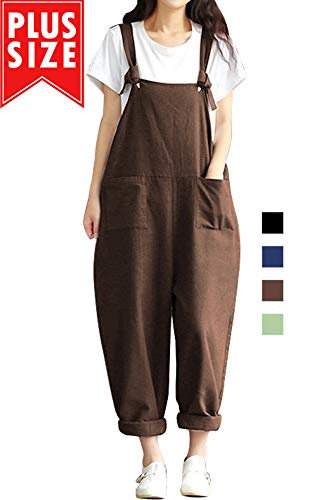 Lncropo Women Large Plus Size Baggy Overalls Casual Wide Leg Pants Sleeveless Rompers Jumpsuit Vintage Haren Overalls (S, Coffee) ()