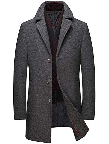 Duffle Homme Hiver Col Trench Avec Manteau coat Épais Gris Classique Écharpe Laine Mallimoda adxq0na