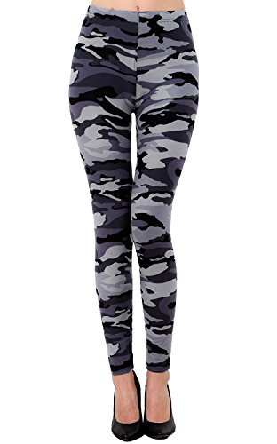 (VIV Collection Plus Size Printed Brushed Leggings (Gray Army Camouflage))