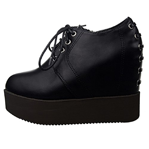 HooH Women's Lace Up Platform Wedge Ankle Boots Black 8kZhjQO