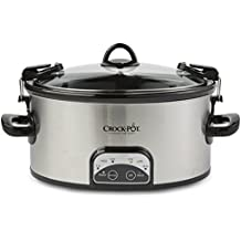 Crock-Pot SCCPVL605-S 6-Quart Programmable Cook & Carry Oval Slow Cooker, Stainless Steel