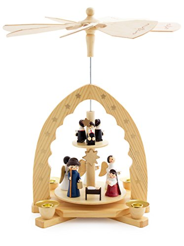 German Candle Carousel - BRUBAKER Christmas Pyramid 12 Inches Nativity Play - Christmas Scene 'Jesus Crib' - Handpainted Figures - Limited Edition - Designed in Germany