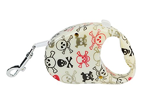- Topsung 10-Feet Colorful Retractable Dog Leash, Great for Small Dogs up to 26 Pounds, Skull Pattern