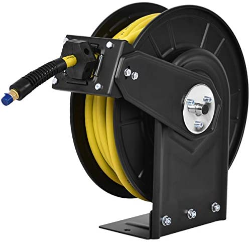 "Goplus Air Hose Reel, Steel Compressor Hose Auto Rewind with Retractable 3/8"" x 50' Rubber Hose Wall Mount, Commercial Grade Rubber Hose, Max.300 PSI, Yellow"