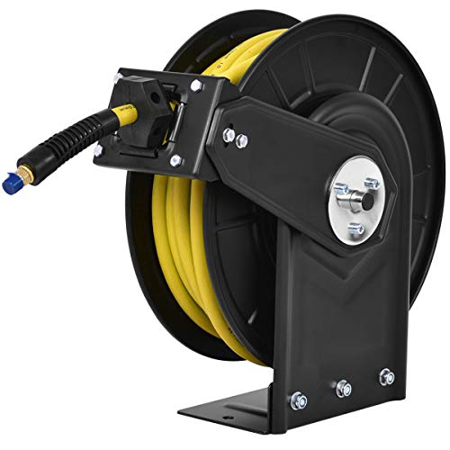 Goplus Air Hose Reel, Steel Compressor Hose Auto Rewind w/Retractable 3/8' x 50' Rubber Hose, Max.300 PSI, Yellow