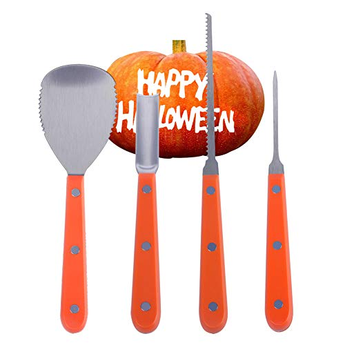 Halloween Pumpkin Carving Kit Stainless Steel Tools Heavy Duty 4pcs Set Professional Sculpting  Party Favors With Metal Saw Scoop Etching