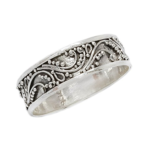 Narrow Stacking Ring Balinese Scroll Band Sterling Silver Bali Size (Bali Scroll Ring)