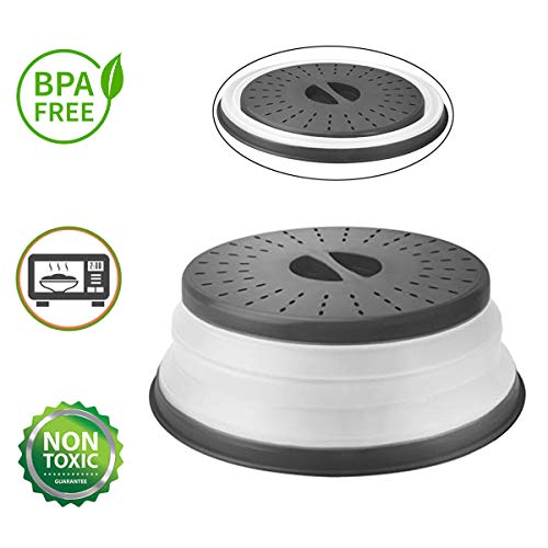 (OUZIFISH Microwave Plate Cover 10.5 inch Collapsible Food Plate Lid Cover - BPA Free, Easy Grip, Microwave Plate Guard Lid With Steam Vent & Colander Strainer for Fruit  (Grey))