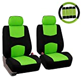FH GROUP FH-FB050102 Pair Set Flat Cloth Car Seat Covers W. FH2033 Steering Wheel Cover & Seat Belt Pads, Green / Black- Fit Most Car, Truck, Suv, or Van