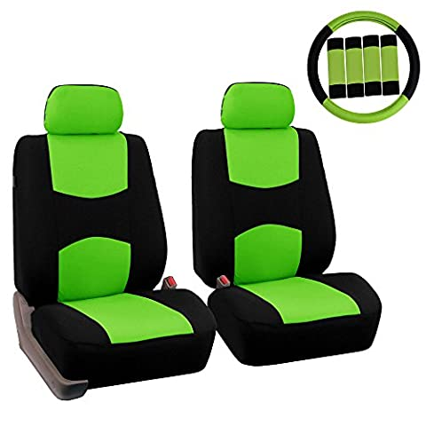 FH GROUP FH-FB050102 Pair Set Flat Cloth Car Seat Covers W. FH2033 Steering Wheel Cover & Seat Belt Pads, Green / Black- Fit Most Car, Truck, Suv, or (Forros Para Mp4)