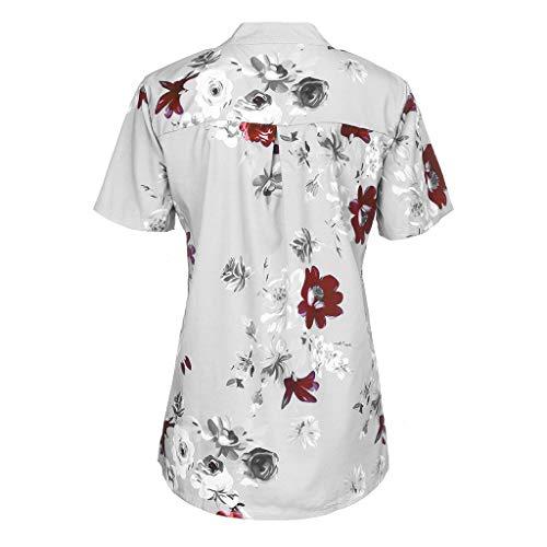 Cutude Bouton Tops shirts T Blanc 2019 Floral Col Gilet Tunic Debout Polo Imprimé Blouse Casual With Women Chemise Pocket Fashion Haut Été Femme rZ7rqw
