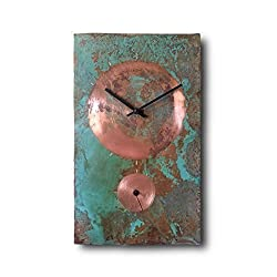 Large Copper Wall Clock 18-inch - Rectangle Turquoise Decorative Rustic Metal Original - Silent Non Ticking Quartz for Home