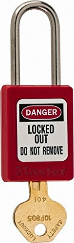 1-3/8 Inch Wide x 1-7/8 Inch High, Red Thermoplastic Body Lockout Padlock