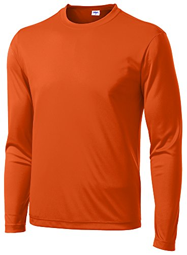Opna Men's Long Sleeve Moisture Wicking Athletic Shirts Orange-XL (Athletic Mens Shirt)