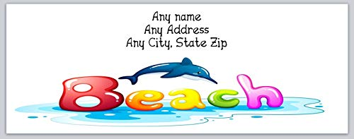 150 Personalized Address Labels Scenic Beach with Dolphin (c 659) ()