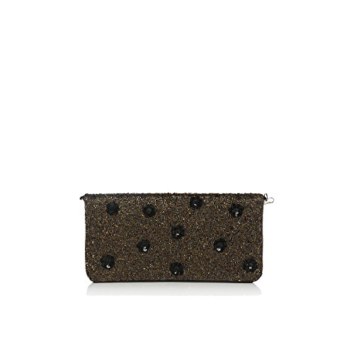 - Evening flat satin embroidered floral peach black gold clutch for ladies