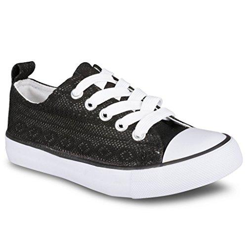 Twisted Girl's Canvas KIX Lo-Top Sneaker - Black, Size 1