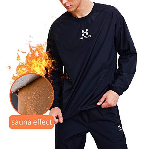 HOTSUIT Sauna Suit Men Weight Loss Sweat Jacket Gym Boxing Workout, Black, 2XL