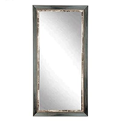 "BrandtWorks BM021T Harbor Tall Floor Mirror, 32"" x 71"", Weathered Gray Blue - Proud to be American Made Hanging hardware for vertical or horizontal installation included Crafted by Hand - mirrors-bedroom-decor, bedroom-decor, bedroom - 41tm1uQ4l7L. SS400  -"