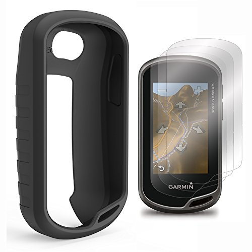 TUSITA Case with Screen Protector for Garmin Oregon 600/600t/650/650t/700/750/750t Handheld GPS Silicone Skin Protective Cover (Black)