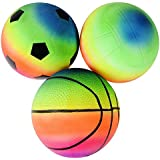 Rhode Island Novelty 6 Inch Rainbow Sports Vinyl Balls Set of 3 Assorted Designs May Vary