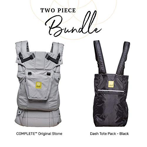 LÍLLÉbaby Complete Baby Bundle, Orignal - Grey Baby Carrier with Dash Totepack, Black (Dash Baby Product)
