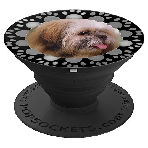 Shih Tzu Dog Lover Paw Print Frame Shihtzu Funny Tongue Out - PopSockets Grip and Stand for Phones and Tablets (Shih Prints Paw Tzu)