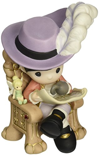 (Precious Moments,  Disney Captain Hook with Tinker Bell Figurine, Porcelain Bisque Figurine, 153014)
