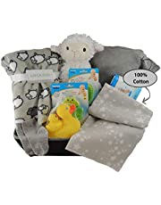 Baby Gift Basket Unisex/Baby Shower Gift: Coral Fleece Blanket, Cotton Onesie, Swaddling Blanket, Rubber Ducky Set and more.