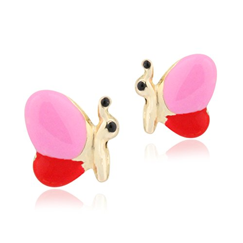 Designed Gold 14k Butterfly Charm - UNICORNJ 14K Yellow Gold Butterfly Side Stud Earrings Enameled Pink and Red Kids & Children Italy
