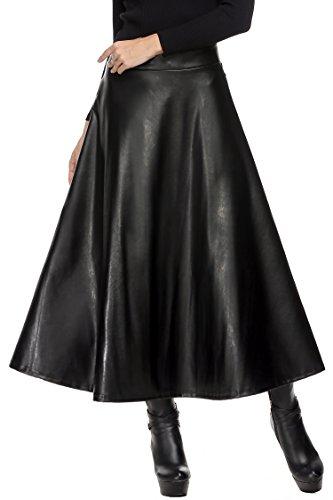 Elesol Women's Synthetic Leather High Waist Midi Long A-Line Swing Skater Skirt Black L