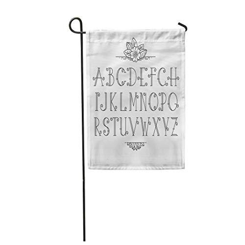 "Semtomn Garden Flag 28""x 40"" Monogram Mono Line Latin Alphabet of Vintage Outline Letters Banner for Party"