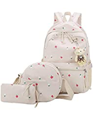 Weilong Teens School Backpack Set Canvas Girls School Bags, Bookbags Set of 3
